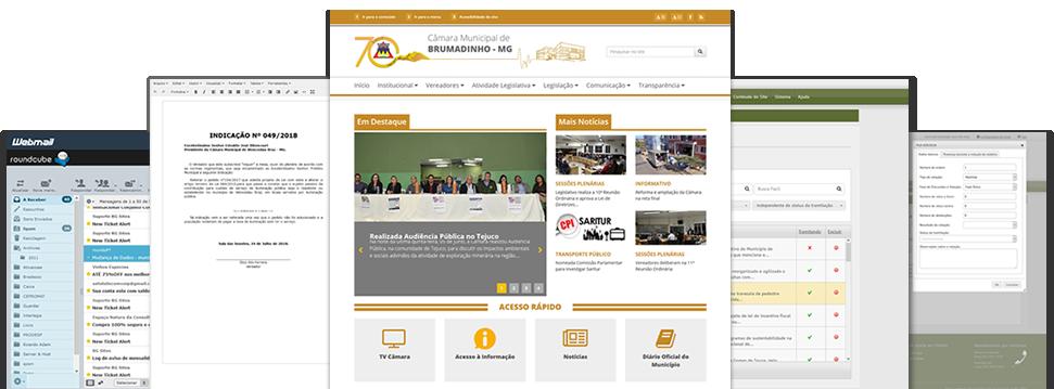 Tela dos sistemas, sites e softwares para Câmara Municipais
